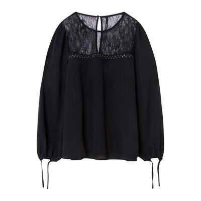 Bluse, Ausschnitt mit Spitze, Bänder am Ärmelabschluss Bluse, Ausschnitt mit Spitze, Bänder am Ärmelabschluss PEPE JEANS