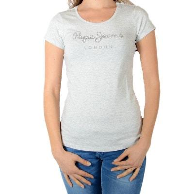 Tee shirt manche courte femme Pepe jeans en solde   La Redoute 4aa25ae499d6