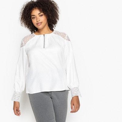 Bluse mit Spitzendetails, runder Ausschnitt mit kleinem Reissverschluss Bluse mit Spitzendetails, runder Ausschnitt mit kleinem Reissverschluss CASTALUNA