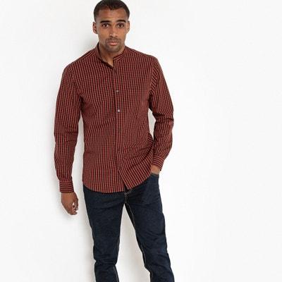Long-Sleeved Straight Cut Checked Shirt Long-Sleeved Straight Cut Checked Shirt La Redoute Collections
