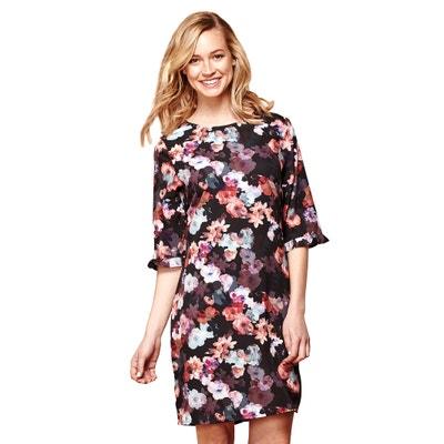 Robe droite imprimé floral courte, manches courtes YUMI
