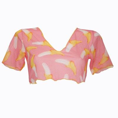 T-shirt débardeur court pareo rose imprimé bananes I LOVE MY BIKINI