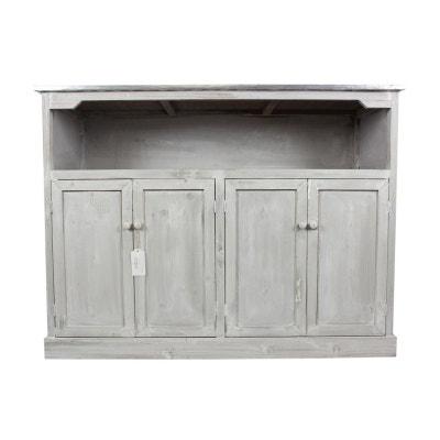 meuble bas rangement bois ceruse blanc plateau zinc 119x47x90cm decoration dautrefois