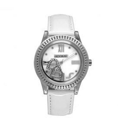 Montre Kookaï Avec Cadran Blanc Nacré Et Bracelet Cuir Blanc Pour Femme  Montre Kookaï Avec Cadran 31179c3a598