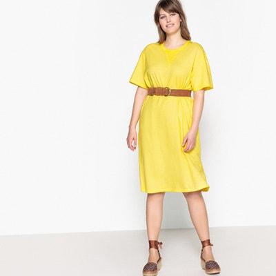 Effen halflange jurk met korte mouwen CASTALUNA