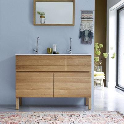 meuble salle de bain en bois de chne et cramique 120 easy meuble salle de bain - Meuble Salle De Bain Bois 1 Vasque