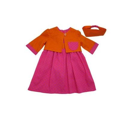 Vêtement bébé: robe 18 mois, bolero, bandeau orange et fushia à pois Vêtement bébé: robe 18 mois, bolero, bandeau orange et fushia à pois POUSSIN BLEU