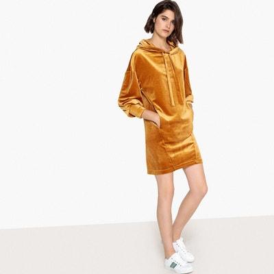 Robe style sweat en velours, avec capuche La Redoute Collections
