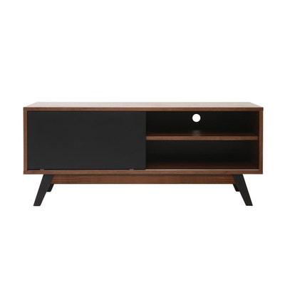 meuble tv design noyer et noir mat norma miliboo