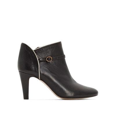 Boots in pelle, neri, dettaglio laccetto argentato Boots in pelle, neri, dettaglio laccetto argentato La Redoute Collections