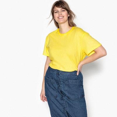 T-shirt pur coton col rond uni, manches courtes T-shirt pur coton col rond uni, manches courtes CASTALUNA