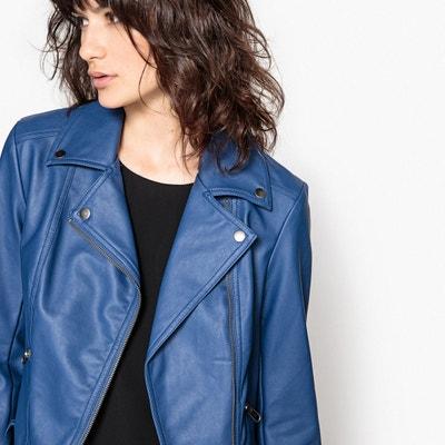 Blouson cuir bleu marine femme