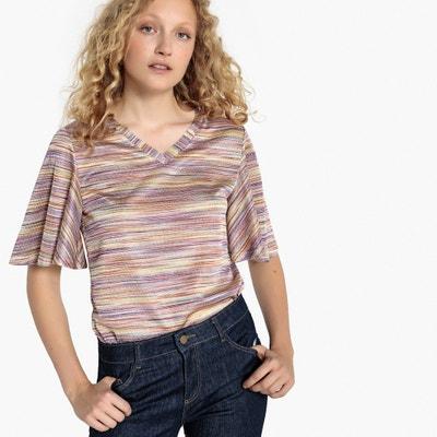 T-shirt w paski, rękaw motylek La Redoute Collections
