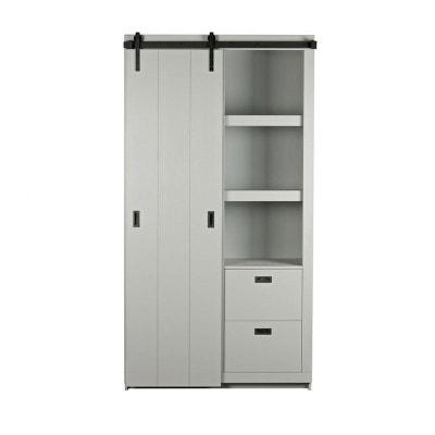 armoire design bois porte coulissante barn drawer