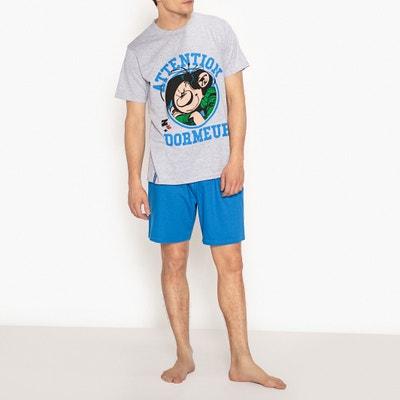 Pijama con short de algodón, estampado Gaston Lagaffe Pijama con short de algodón, estampado Gaston Lagaffe GASTON LAGAFFE