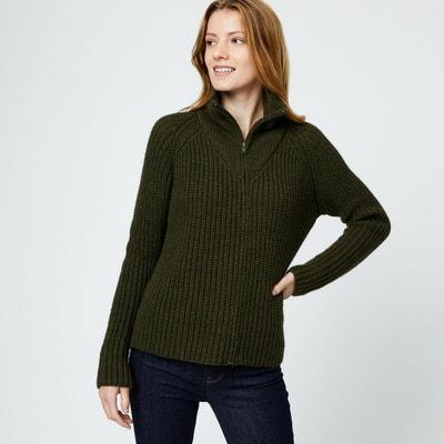 Cardigan zippé côtelé contenant de la laine Cardigan zippé côtelé contenant  de la laine MONOPRIX. Soldes c507280a9348