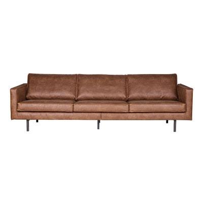 Canapé vintage cuir 4 places ASPEN - cuir reconstitué MILIBOO