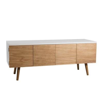 Meuble TV en bois blanc, 4 portes couleur naturelle aspect lamelles 120x40x48cm PEROU PIER IMPORT