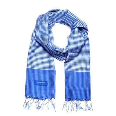 cff89d4520a98 Foulard Krama en Soie Bleu Lazuli Foulard Krama en Soie Bleu Lazuli KRAMA  HERITAGE