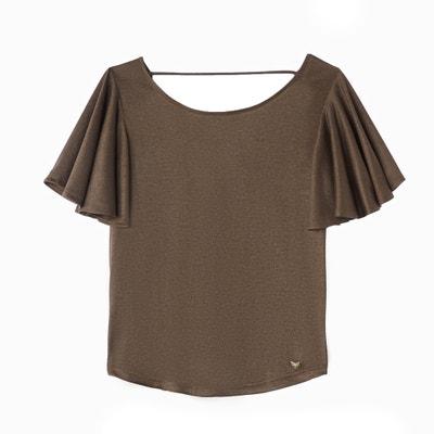 T- shirt met ronde hals en korte wijduitlopende mouwen T- shirt met ronde hals en korte wijduitlopende mouwen LPB WOMAN