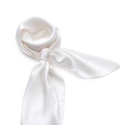 Carré de soie Premium Blanc uni - 85x85 cm ALLEE DU FOULARD 7f05688b60f