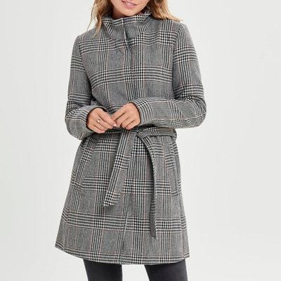 Bedrukte jas met ruiten, opstaande kraag en ceintuur Bedrukte jas met ruiten, opstaande kraag en ceintuur ONLY