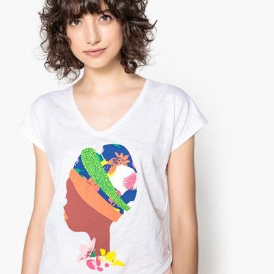 Camiseta con cuello de pico y motivo delante, manga corta Camiseta con cuello de pico y motivo delante, manga corta La Redoute Collections