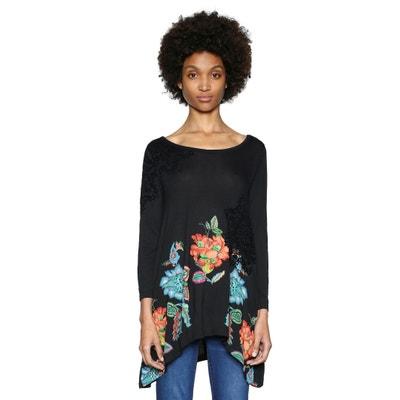 Camiseta con cuello redondo y estampado de flores, de manga larga Camiseta con cuello redondo y estampado de flores, de manga larga DESIGUAL