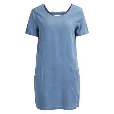 Платье-футляр из лёгкого денима с короткими рукавами Платье-футляр из лёгкого денима с короткими рукавами VILA