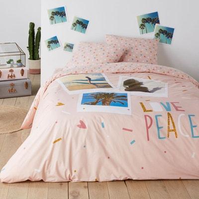 Housse de couette pur coton LOVE PEACE Housse de couette pur coton LOVE PEACE La Redoute Interieurs