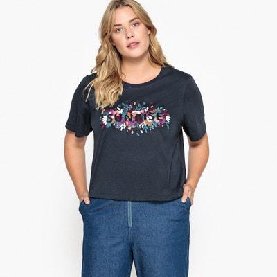 Embroidered Sunrise Slogan Cotton T-Shirt CASTALUNA