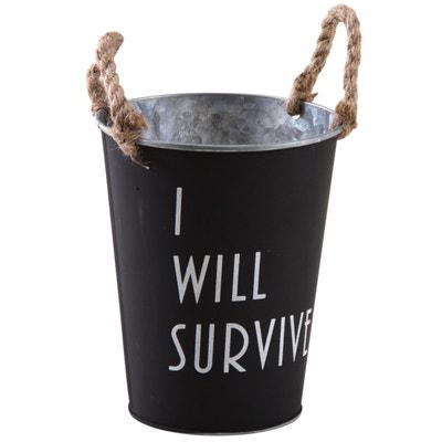 Cache-pot en métal laqué noir mat I Will Survive Cache-pot en métal laqué noir mat I Will Survive AUBRY GASPARD