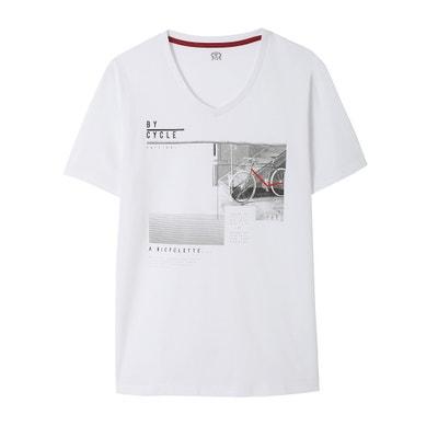 T-shirt com decote em V, estampada La Redoute Collections