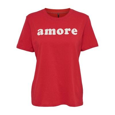 T-shirt scollo rotondo maniche corte, motivo applicato T-shirt scollo rotondo maniche corte, motivo applicato ONLY