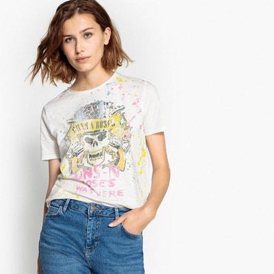 Tee shirt  col rond manches courtes imprimé devant ONLY