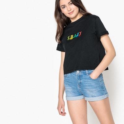 T-shirt con scritta e frange 10 - 16 anni T-shirt con scritta e frange 10 - 16 anni La Redoute Collections
