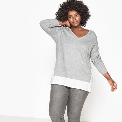 Pullover, V-Ausschnitt, Materialmix Pullover, V-Ausschnitt, Materialmix CASTALUNA