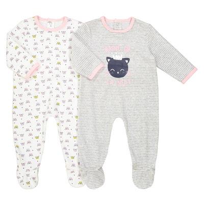 Lot de 2 pyjamas velours 0 mois - 3 ans Oeko Tex Lot de 2 pyjamas velours 0 mois - 3 ans Oeko Tex La Redoute Collections