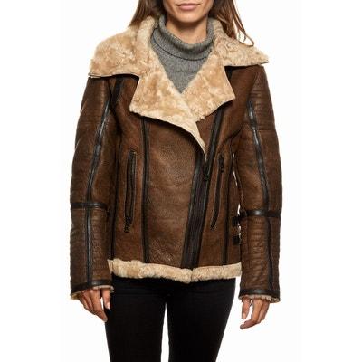 Peau lainée femme style perfecto marron foncé TASSA LE CUIR PARIS