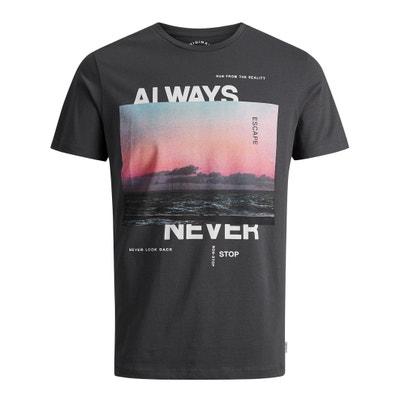 T-shirt scollo rotondo, motivo davanti JACK & JONES
