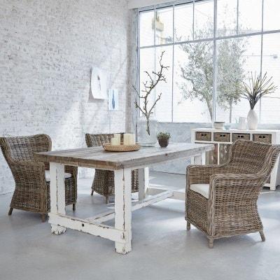 Table à manger en bois de pin recyclé 8 à 10 couverts BOIS DESSUS BOIS DESSOUS
