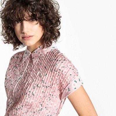 Robe plissée imprimée fleurs, col chemise MADEMOISELLE R
