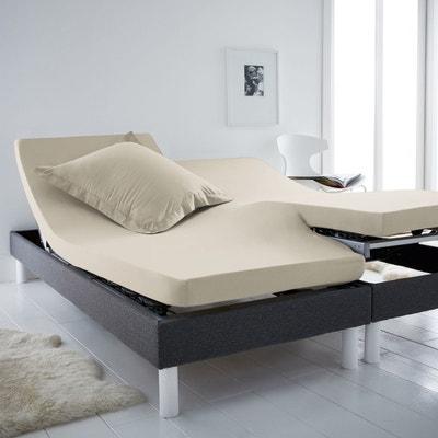 drap housse matelas articule beige blanc la redoute. Black Bedroom Furniture Sets. Home Design Ideas