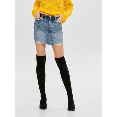 Jupe en jean courte en solde   La Redoute 0bd160662fb2
