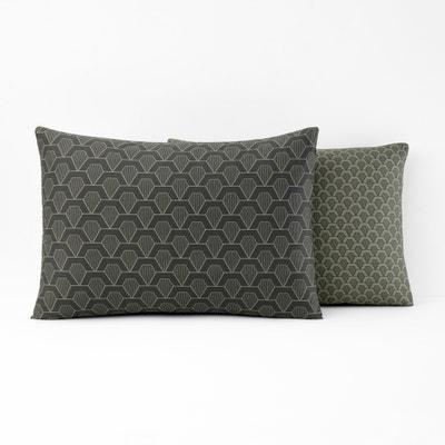 JACOB Geometric Print Cotton Satin Pillowcase JACOB Geometric Print Cotton Satin Pillowcase La Redoute Interieurs