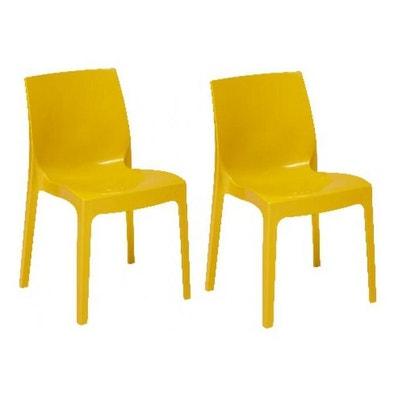 lot de 2 chaises empilables jaunes vienne declikdeco - Chaise Jaune Scandinave