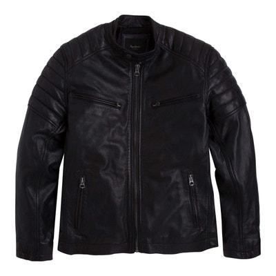 Blouson biker en cuir, court et zippé Blouson biker en cuir, court et  zippé. Soldes. PEPE JEANS dab61015cde5
