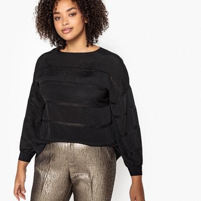 Langärmelige Bluse mit Spitzendetails, runder Ausschnitt Langärmelige Bluse mit Spitzendetails, runder Ausschnitt CASTALUNA