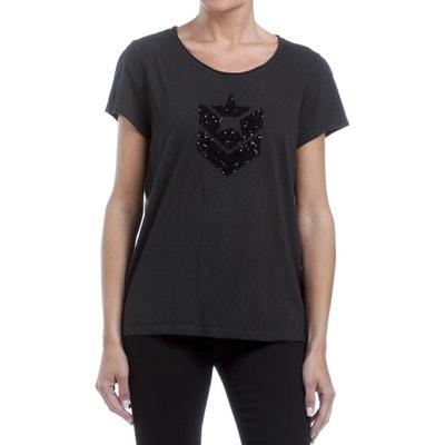 T-Shirt mit rundem Ausschnitt, kurze Ärmel, Pailletten T-Shirt mit rundem Ausschnitt, kurze Ärmel, Pailletten FREEMAN T. PORTER