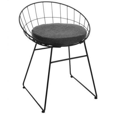 Fauteuil relax moderne métal noir avec coussin PIER IMPORT